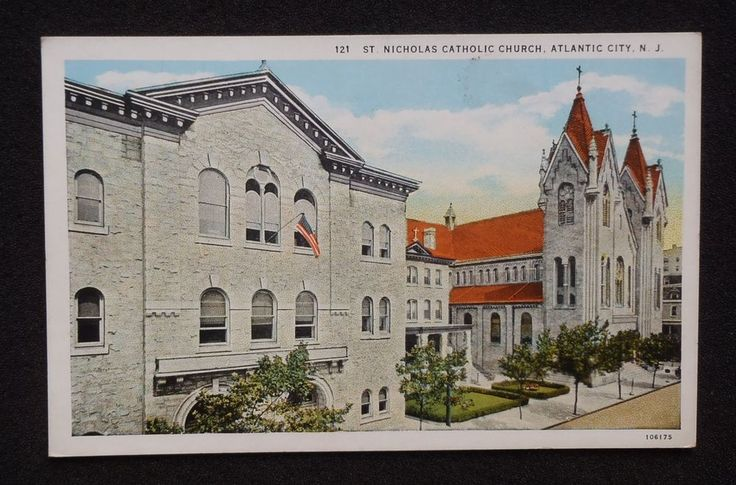 1920s St. Nicholas Catholic Church Atlantic City NJ Atlantic Co Postcard