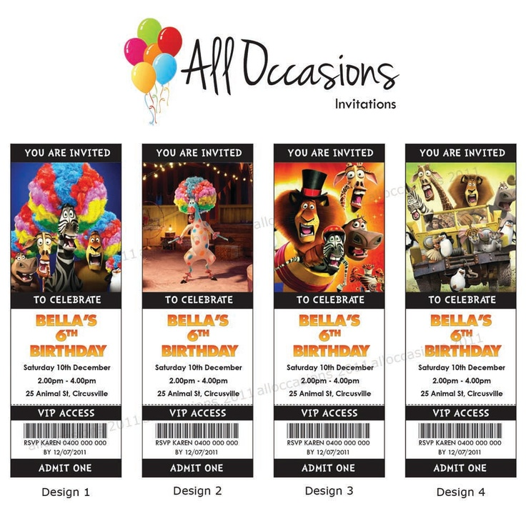 Madagascar 3 Birthday Ticket Invitations  I could probably make these...