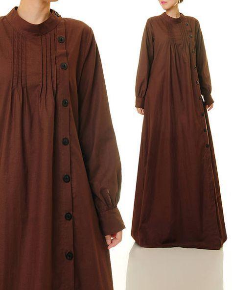 Brown Linen Dress Shirtdress Abaya Maxi Dress Brown Maxi