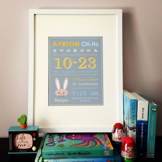 Birth Announcement Story  Brown Rabbit by lifelonglove on Etsy