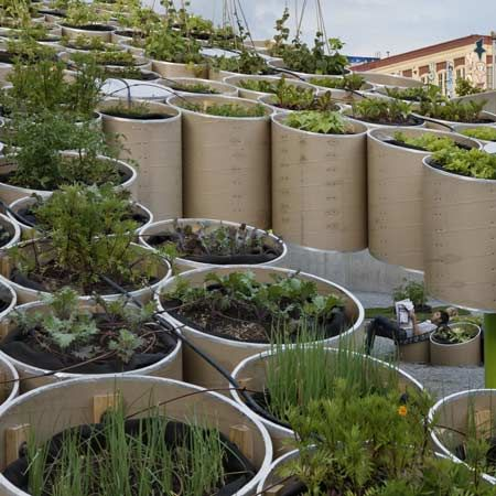 A temporary installation in NYC is an attempt to bring the qualities of the countryside into the city, by growing fruit and vegetables in large cardboard tubes above a communal area.