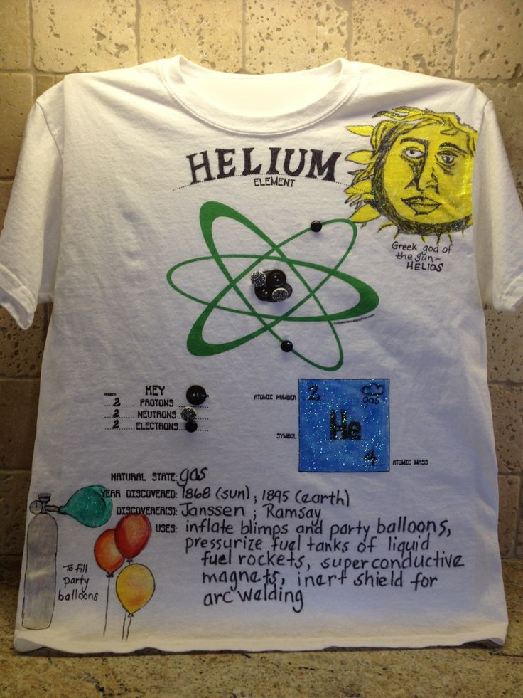 """This site is great for Science Education. Sample of an """"Atomic Attire"""" shirt featuring the element Helium. Website gives you strategies on how to organize this project in your classroom so that each student creates a unique wearable science fashion and tips for holding an """"Atomic Attire Fashion Show""""!"""