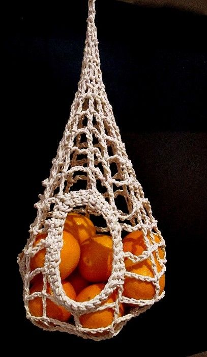 Fruit bowl, macrame, hanging, oranges