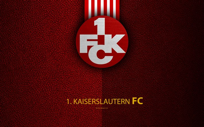 Download wallpapers FC Kaiserslautern, FC, 4K, Bundesliga 2, leather texture, German football club, logo, Kaiserslautern, Germany, second division, football