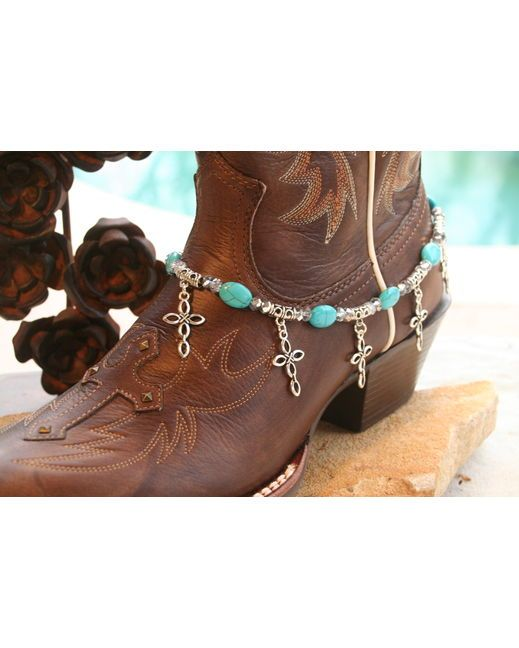 Boot Candy Boot Candy Turquoise Ovals with Oval Design Crosses   http://www.countryoutfitter.com/products/30595-boot-candy-turquoise-ovals-with-oval-design-crosses