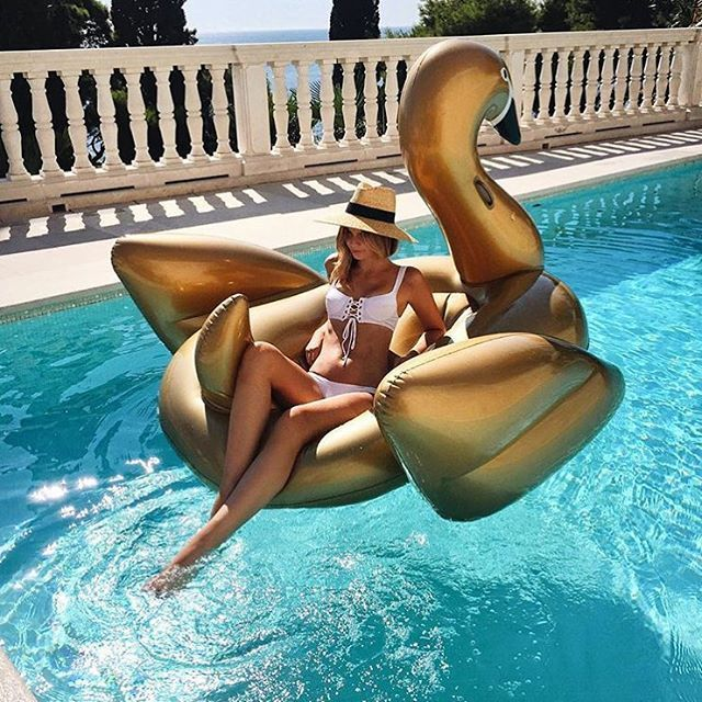 Giant Gold Swan Pool Float // poolfloatz.com (FREE SHIPPING) $5 Off After Mailing List Signup! #poolfloat #giantpoolfloats