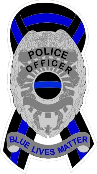 PD Blue Lives Matter Reflective Ribbon Decal