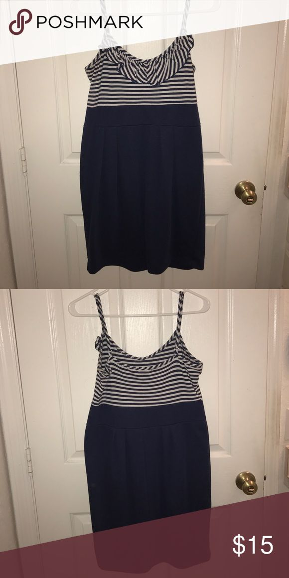 Navy skater dress Navy skater dress with stripes and frills on top Derek Heart Dresses Mini