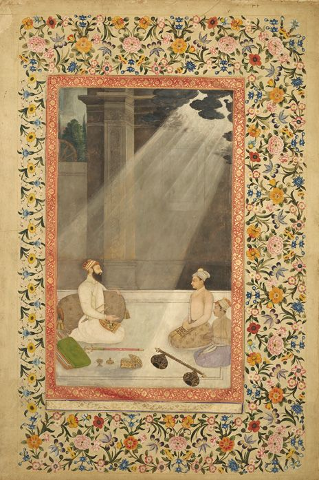 """Emperor Aurangzeb in a Shaft of Light"" with later floral border from ""The St. Petersburg Album"" 
