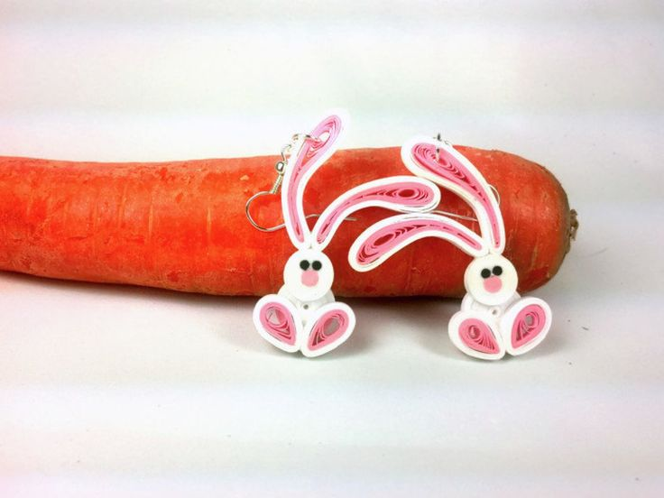 Cute Bunny Earrings Paper Quilling