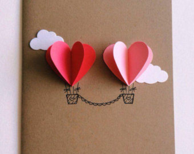 Paar hart hete lucht ballon Card (rood / roze)