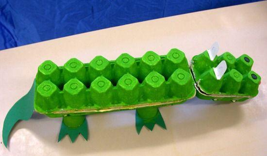 Cocodrilo con hueveras, con materiales reciclados podemos hacer un original animal sobretodo para los niños de primer ciclo d  primaria, los cuales están aprendiendo los seres vivos