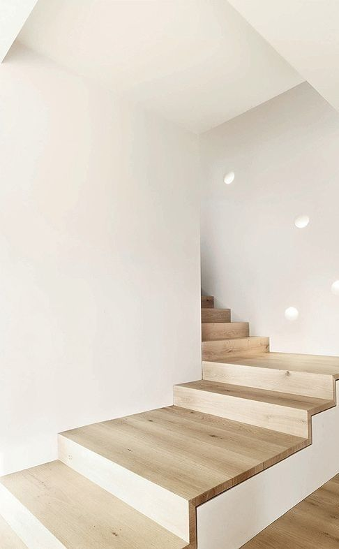 interiors, stairwell, natural wood, white walls, minimal