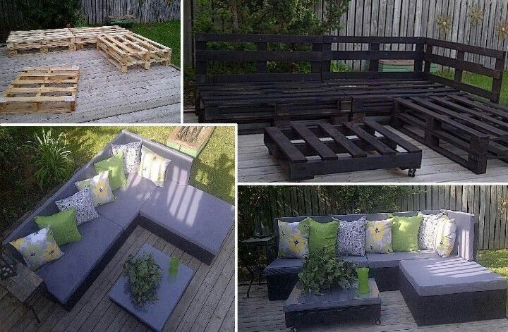 Outdoor sofa and lounger with matching coffee table made from pallets, paint, foam from craft store and outdoor fabric!!