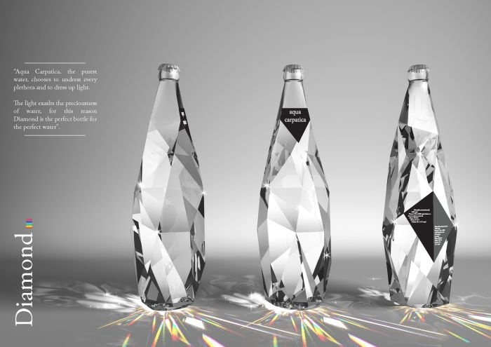 Diamonds are forever / Cristiano GiuggioliCrystals, Glasses, Diamonds, Bottle Packaging, Packaging Design, Aqua, Bottle Design, Waterbottle, Water Bottles