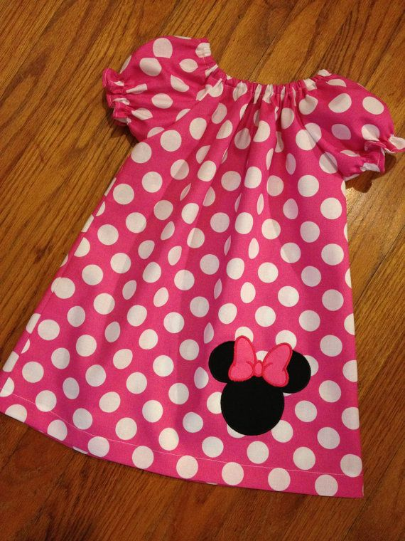 Pink Polka Dot Peasant Dress with Minnie Mouse by CCApplesauce, $25.00