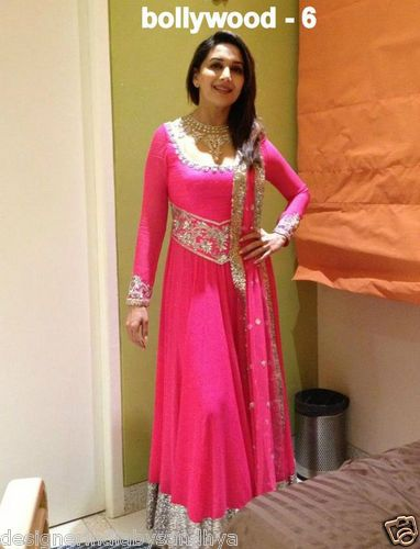 Madhuri rocking the hot pink anarkali...again I would wear that with a black pajami and nice golden heels.