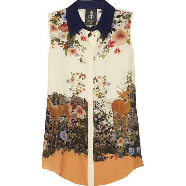 Mother of Pearl Umiko floral-print silk crepe de chine top ($690) ❤ liked on Polyvore