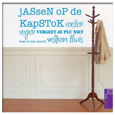Muursticker Tekst Jassen op de kapstok