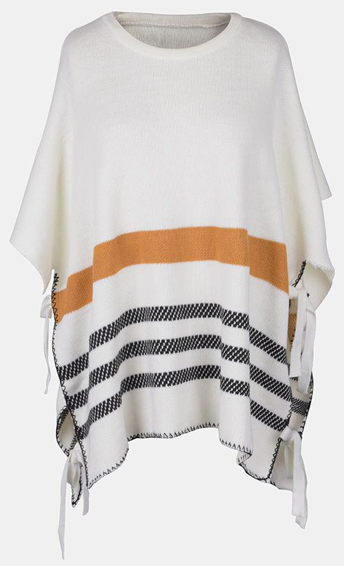 Chic look at $26.99, free shipping& easy return! Stripe poncho sweater is never going out of style!Stripe printing gives this sweater a nice texture. It's also super classic and trendy! Go check it and get surprised at Cupshe.com !