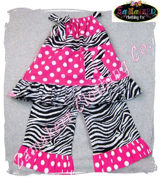 Items similar to Custom Boutique Clothing Zebra N Dots Pillowcase Dress Top Ruffle Pant Bottom Outfit Set 3 6 9 12 18 24 month size 2 3 4 5 6 7 8 on Etsy
