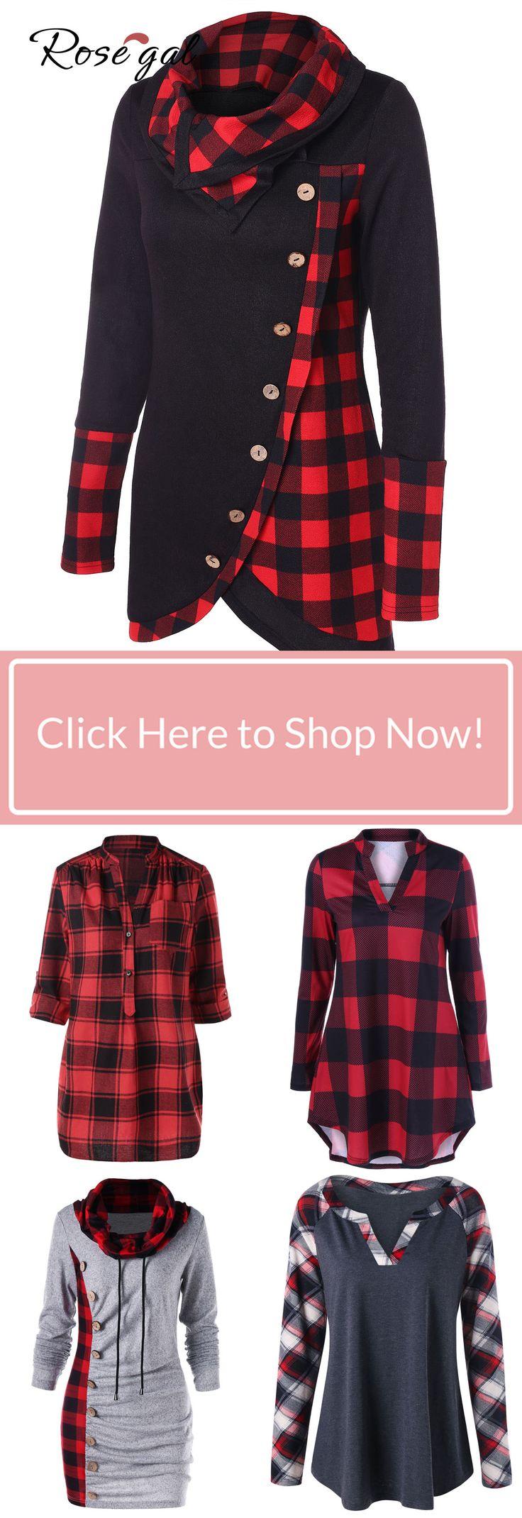 Turtleneck Tartan Asymmetrical Sweatshirt plaid blouses shirts ideas in rosegal.com 11