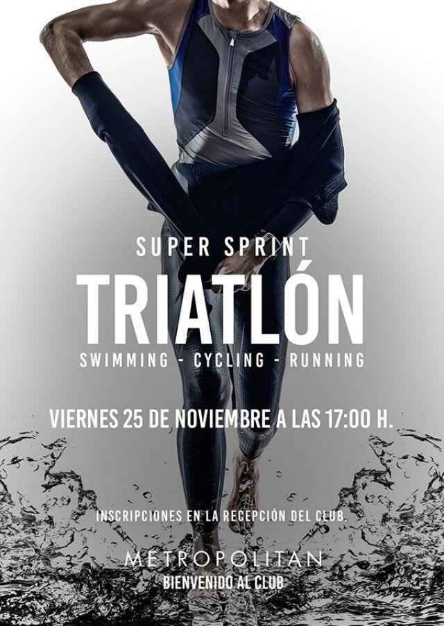 ¿Te apuntas a un Súper Sprint? El próximo viernes, 25 de noviembre a las 17:00 h., te esperamos para una sesión especial de triatlón: Swimming - Cycling - Running 400 m Natación Piscina 10 km Bicicleta Keiser 2.5 km Carrera Inscripciones en la Recepción de Metropolitan Vigo.