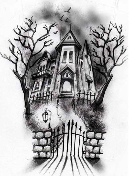 25 best ideas about haunted house tattoo on pinterest Haunted house drawing ideas