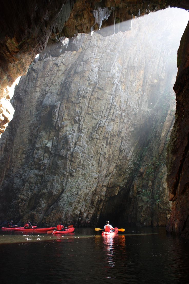 Looking out on Kayakers from the inside of the Bats Cave, Storms River Mouth