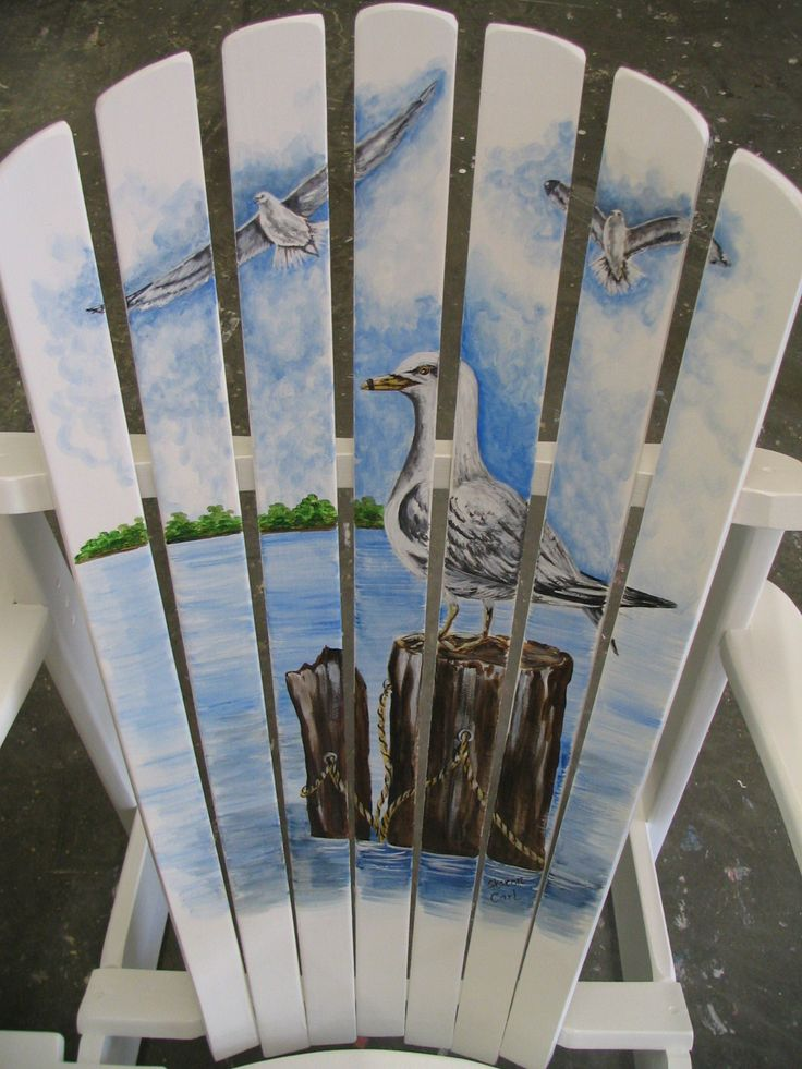 Painted Adirondack Chair With Seagulls On A Pier The