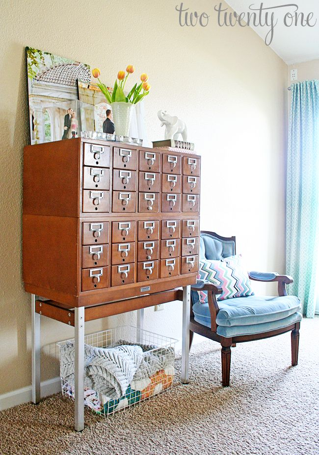 I love the idea of storing lingerie in a card catalogue! The drawers are the perfect size!