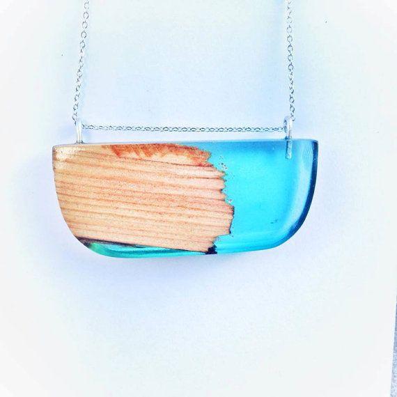 Recycled New Zealand Rimu Wood and Bio-Resin Pendant, Half Circle