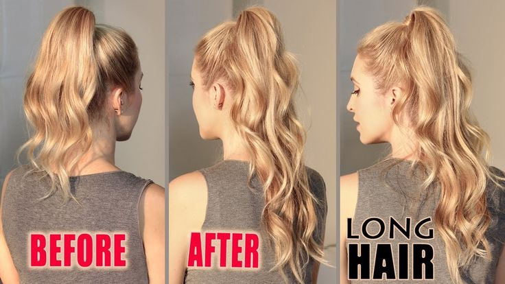 How to get LONG HAIR in 2 min WITHOUT extensions. ARIANA GRANDE hair tut...