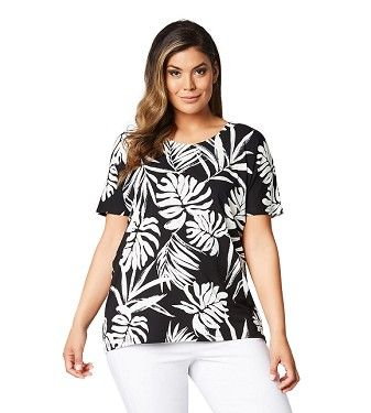 Palm Leaf Printed Relaxed Tee