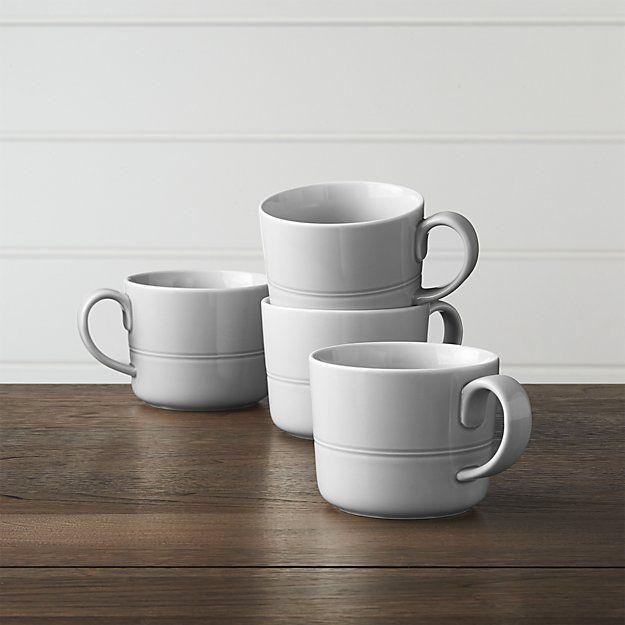Set of 4 Hue Light Grey Mugs   Crate and Barrel