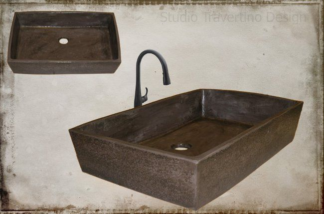 Handmade rustic sink Myronas dimension 60 x 40 x 13,5cm chocolate color!!!!