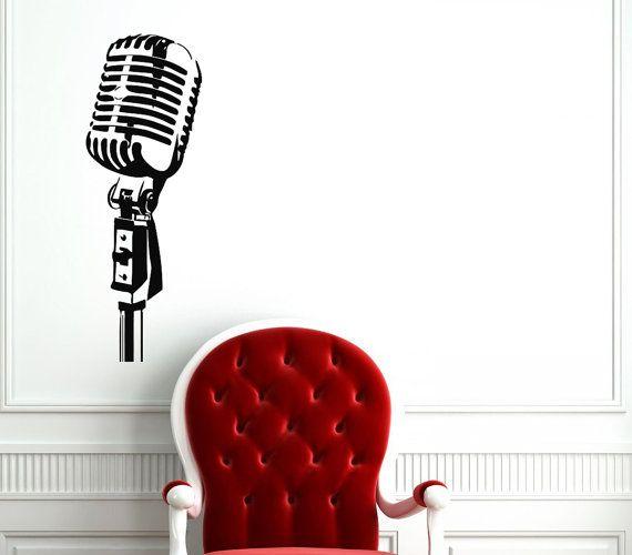 Studio Microphone Decal - Microphone Wall Decals Home Decor Vinyl Art Wall Decor Bedroom Music Studio Sound Recording Studio Decor SV5490