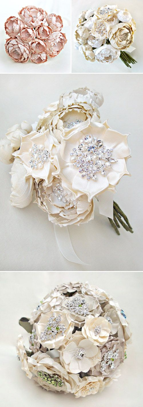 oooooh!   do this for all of the bridesmaids! personalized bouquets with vintage jewelry!