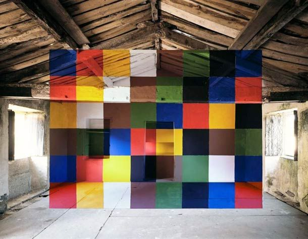 Georges Rousse paints geometric shapes in abandoned places and photographs them creating very intriguing optical illusions.