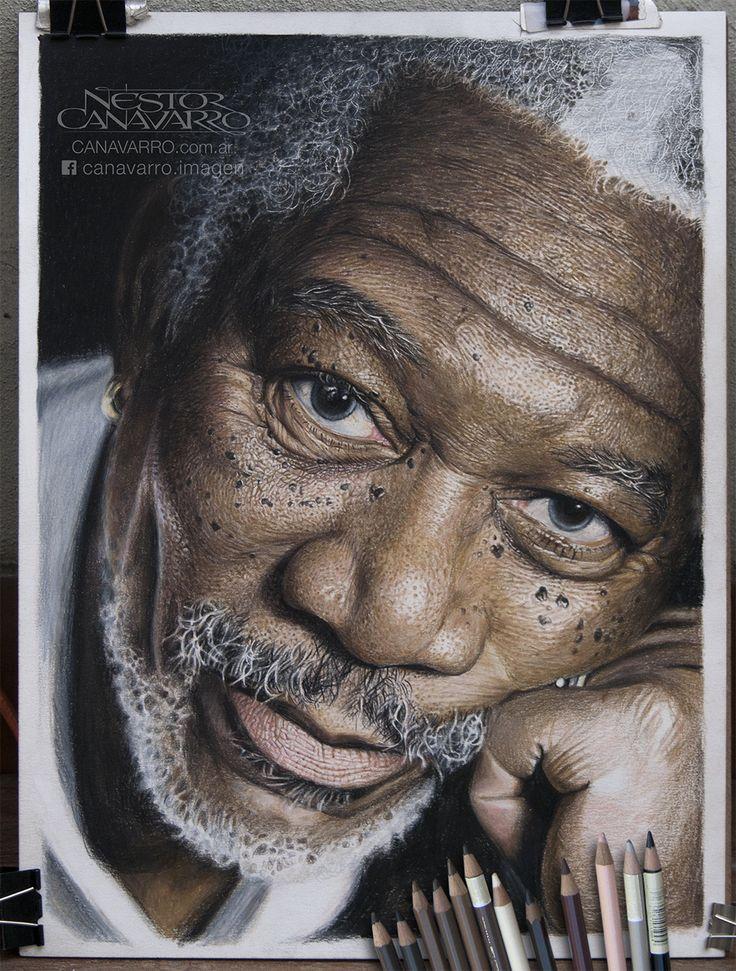 Morgan Freeman - Work in progress - State 6 Color pencils Faber Castell Polychromos and Caran d'Ache Pablo on paper Schoeller 300 gr. - 30 x 40 cm.  www.facebook.com/canavarro.imagen http://instagram.com/nestorcanavarro/