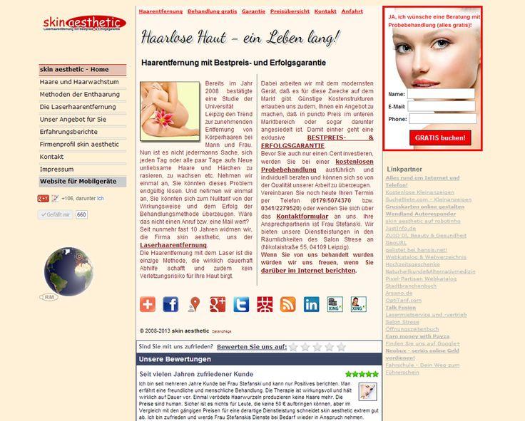 Screenshot Website http://www.skin-aesthetic.de/