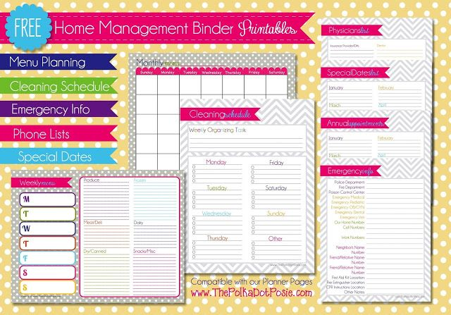 FREE Planner or Home Management Binder Printables! Includes monthly and weekly meal planning pages, cleaning schedule, important dates and numbers and an emergency list.
