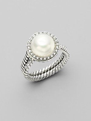 David Yurman White Pearl, Diamond & Sterling Silver Ring.