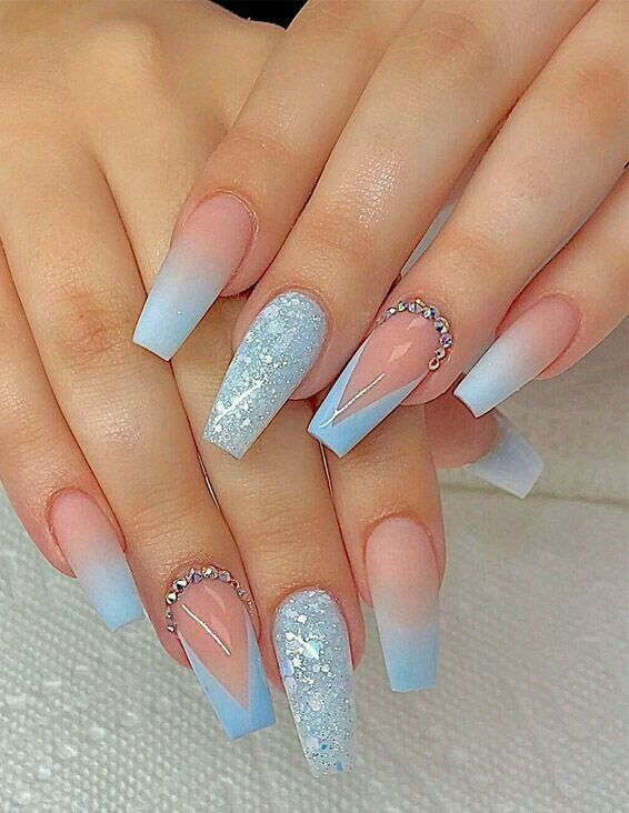 55 High Quality Nail Art Ideas Strictly For Every Future Brides Wedding Guest Blue Acrylic Nails Coffin Nails Long Coffin Nails Designs