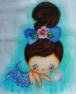 Pintura em Tecido Passo a Passo Com Fotos: Fraldas de Boca Para Meninas Sereias
