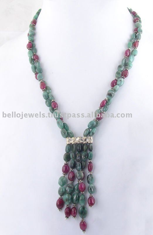 Source Handcrafted Emerald Ruby Beads Handmade Necklace Jewelry India - PayPal on m.alibaba.com