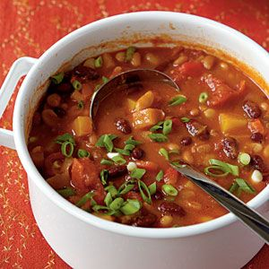 So good. I add ground turkey.: Butternut Squash, Chilis Recipe, Cooking Lights, Vegetarian Recipe, Threebean Vegetarian, Vegetarian Chilis, Weights Loss, Three Beans, Beans Chilis