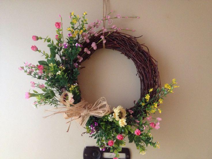 Spring wreath on the door