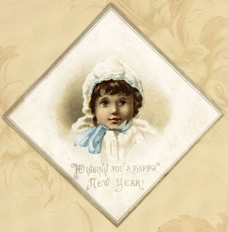 Lovely Diamond Shaped Pretty Bonnet Baby Antique Victorian New Year Card