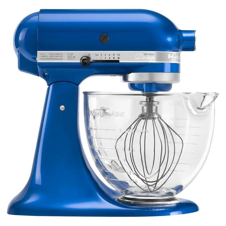 KitchenAid Artisan Design Series 5 Quart Tilt-Head Stand Mixer with Glass Bowl - KSM155GB, Electric Blue